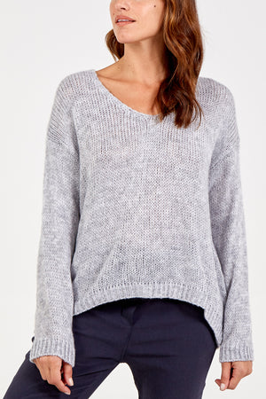 Long Sleeve V Neck Wool Mix Jumper