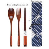 Portable Tableware Wooden Cutlery Sets