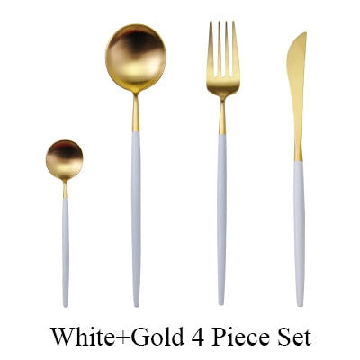 4Pcs/set Black Cutlery Set