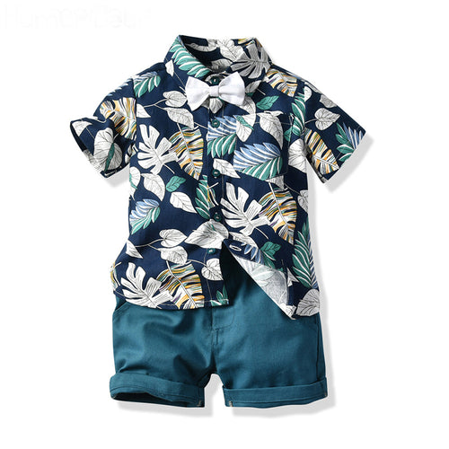 Baby Boy  Leaves Print Short-Sleeved + Casual Shorts+ BowTie