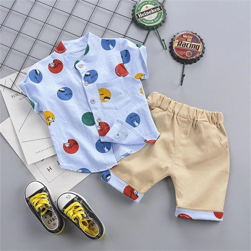 Short-Sleeve Baby Kids Print T-shirts Tops Khaki Shorts Suit for Girls and Boys Clothes Sets