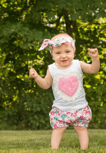 Floral Cotton Sleeveless Top + Shorts Pants + headband