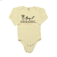 "Load image into Gallery viewer, ""Buy Organic"" - Organic Cotton Long Sleeve Infant Onesie"