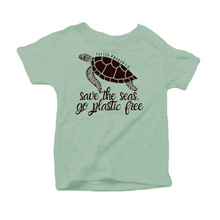 "Load image into Gallery viewer, ""Save the Seas, Go Plastic Free"" - Organic Cotton Toddler Tee"