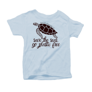 """Save the Seas, Go Plastic Free"" - Organic Cotton Toddler Tee"