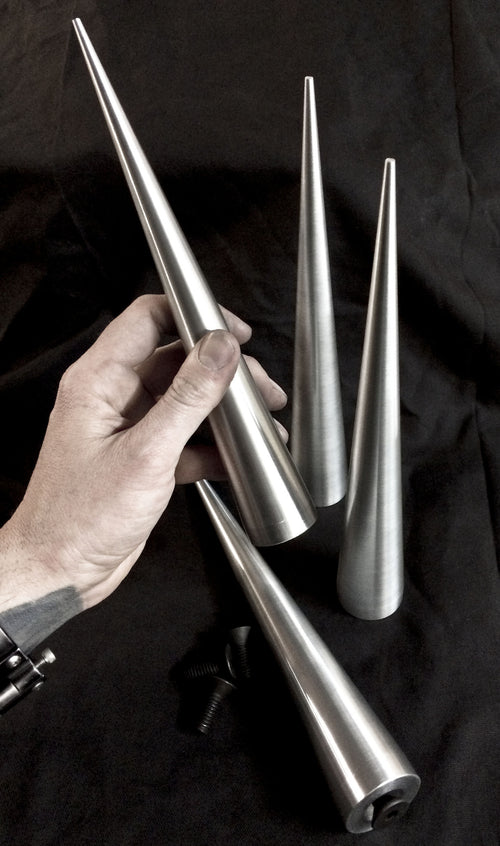 10 inch Cone Spikes - Raw Machined Aluminum -2 pack