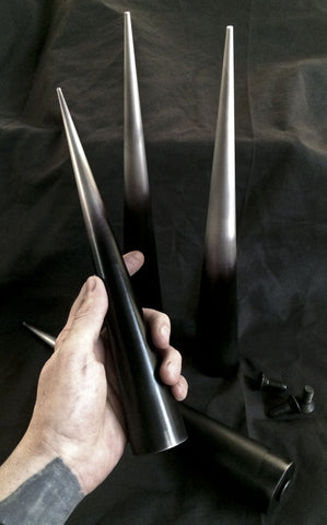 5 inch Cone Spikes -  Machined Aluminum- Antiqued -2 pack