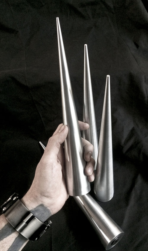 12 inch Cone Spikes - Raw Machined Aluminum -2 pack