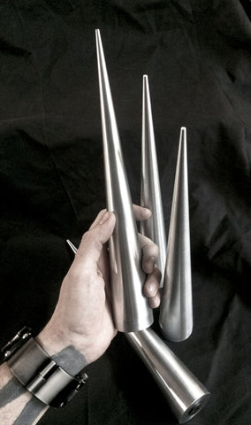 12 inch Cone Spikes - Antiqued Machined Aluminum -2 pack