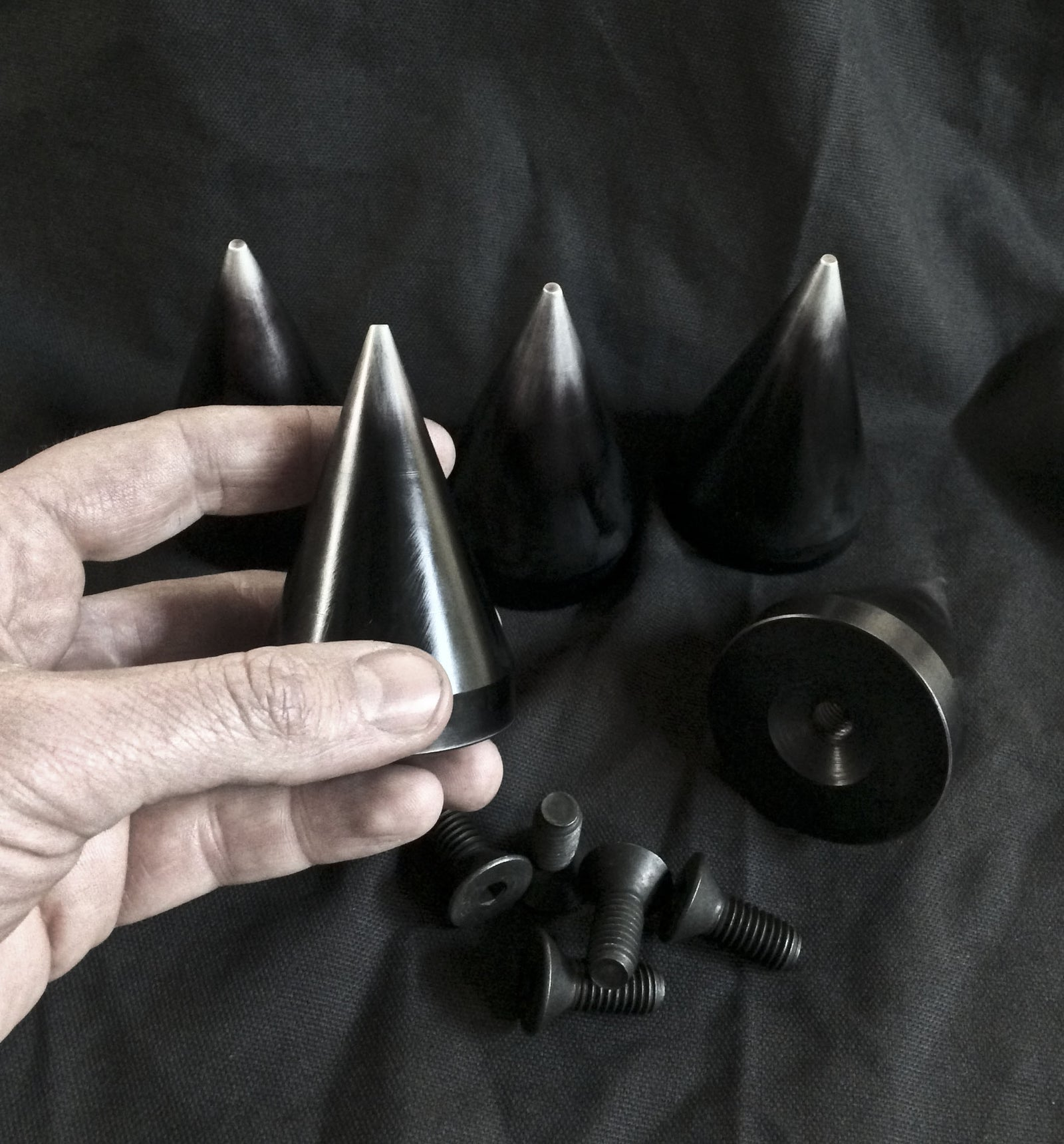 3 inch Cone Spikes -  Machined Aluminum- Antiqued -5 pack