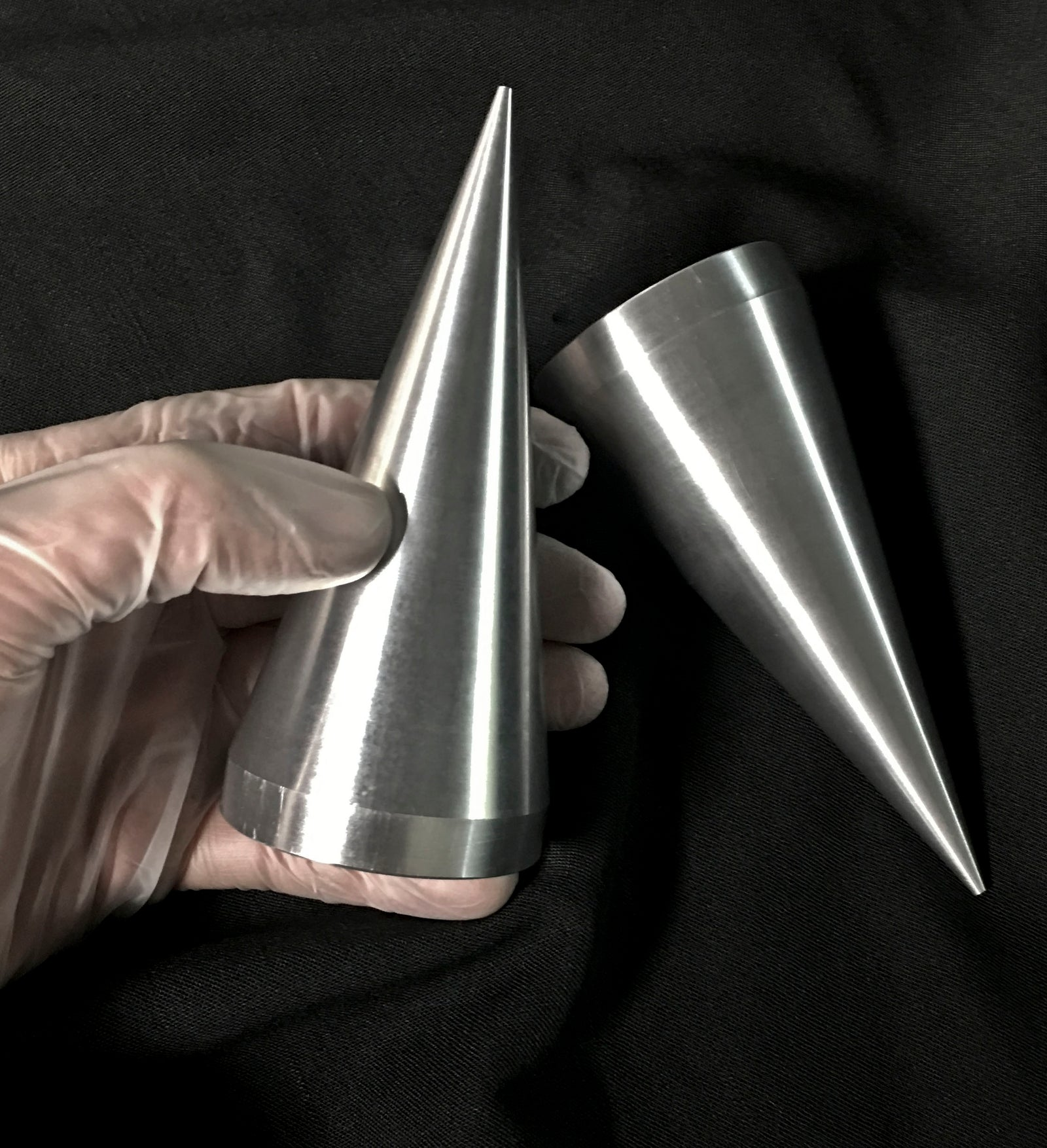 5 inch Cone Spikes -  Machined Aluminum- Raw -2 pack