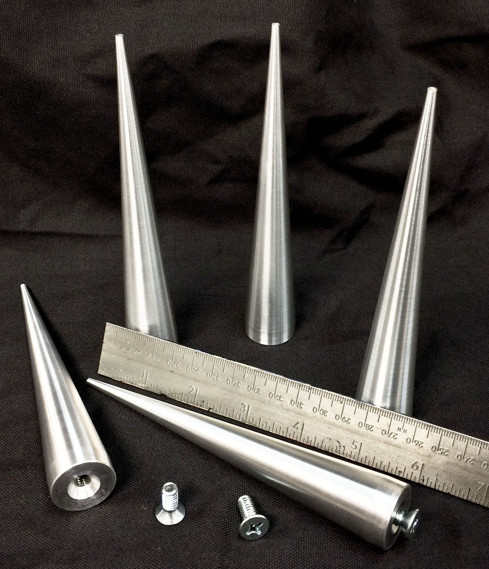 6 inch Cone Spikes - Raw Machined Aluminum -5 pack