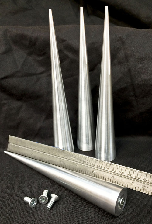 8 inch Cone Spikes - Raw Machined Aluminum -2 pack
