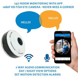 360 Degree Fish Eye Camera Panoramic Wireless Video Surveillance 1080p Camera