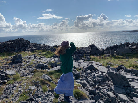 Edel on Inis Meain 2021 at Synge's chair