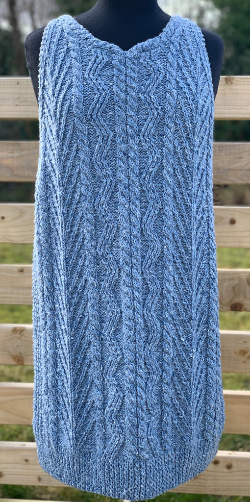 Love Stitch Knit Sleeveless Tunic in SKY