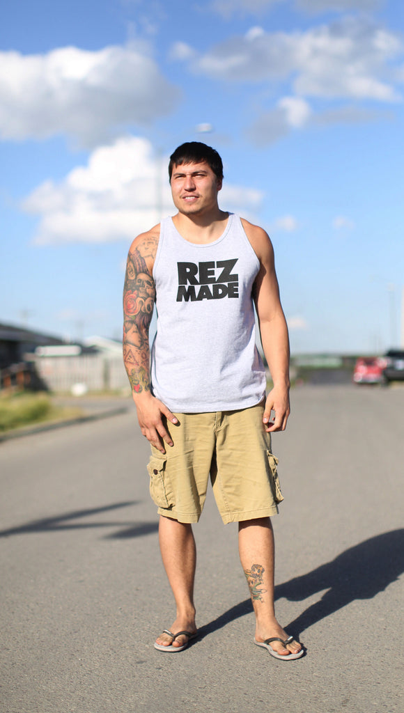 "Tanktop - gray tank / black ""Rez Made"" (front view)"