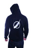 zip-up - black hoodie / white circlefeather (back view)