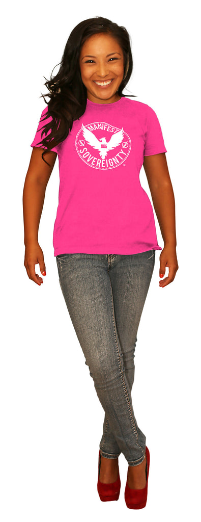 "Women's Manifest Sovereignty crew - neon heather pink shirt / white ""Manifest Sovereignty"" + rising phoenix"