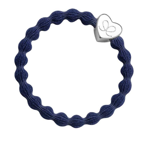 navy blue bangle hair band with silver heart