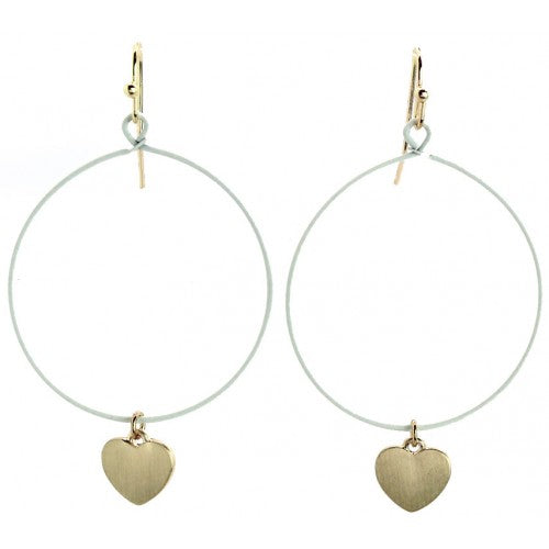 ivory hoop earrings with gold heart