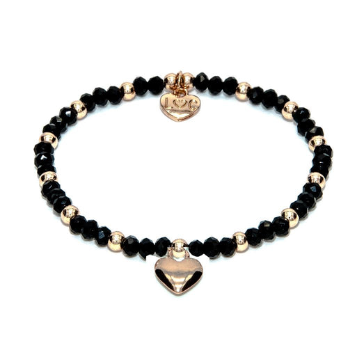 black and rose gold stretchy bracelet