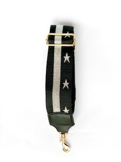 black bag strap with silver stars