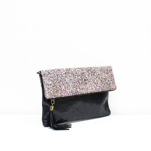 Black & Multi-Colour Glitter Clutch Bag