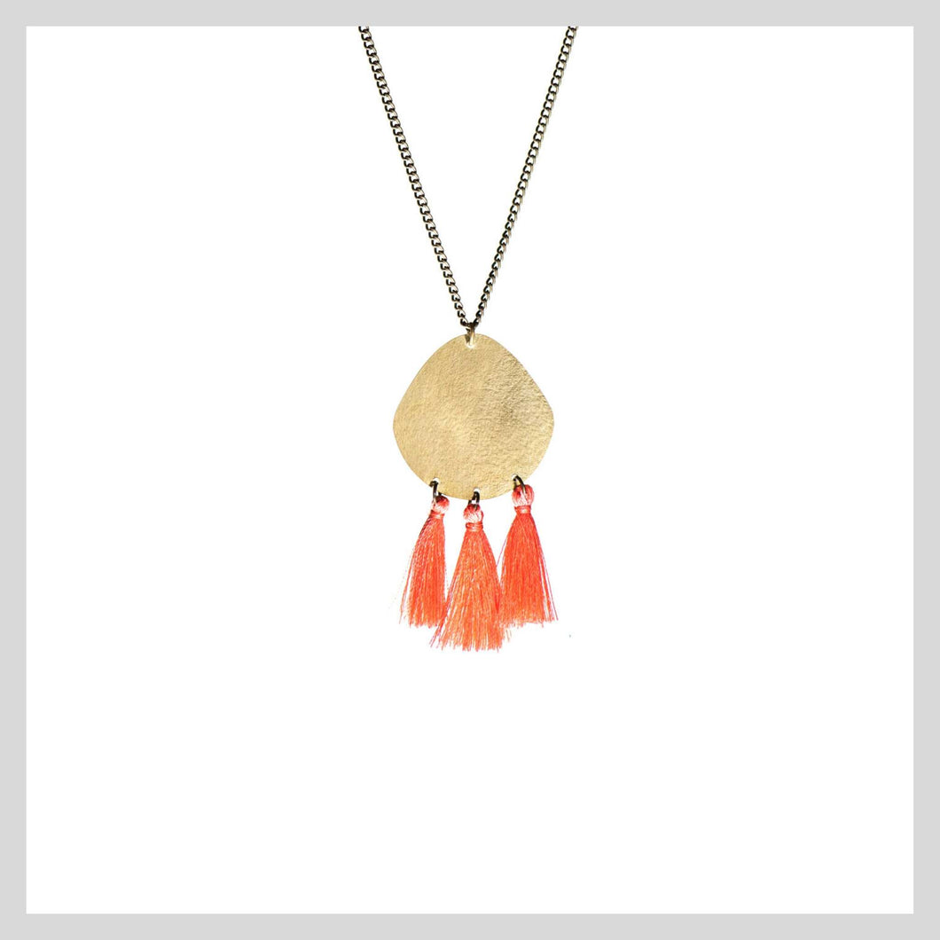 coral tassel necklace fair trade