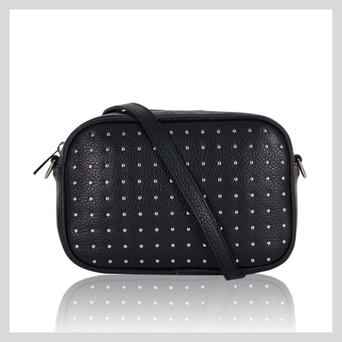 black and silver rockstar bag