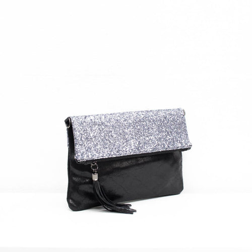 foldover black and silver glitter clutch bag