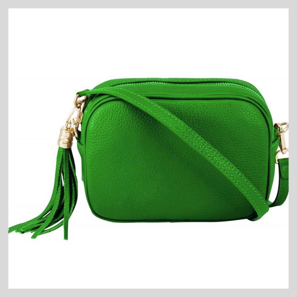 Leather Green Cross Body Camera Bag With Tassel - More Coming Soon