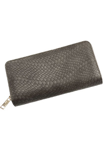 grey snakeprint purse