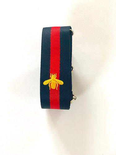 Navy Blue & Red Bag Strap With Gold Bee