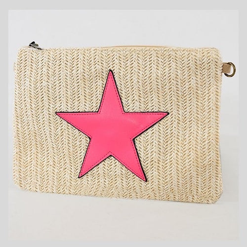 Cream & Neon Pink Star Clutch Bag