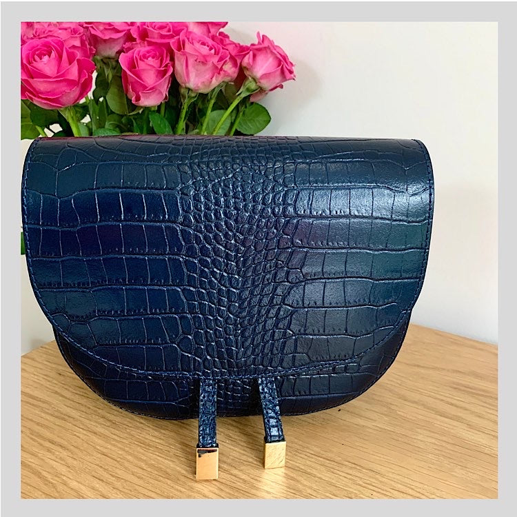 navy croc leather bag