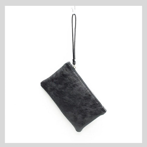 Black Leather Metallic Small Clutch