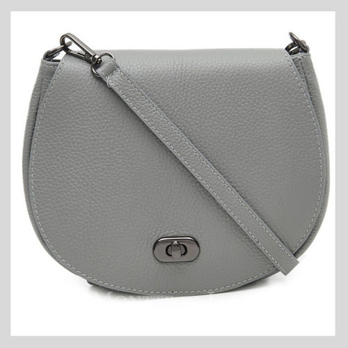 Light Grey Leather Cross Body Bag