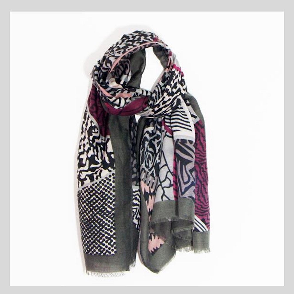 Geometric Abstract Pink Mix Animal Print Scarf
