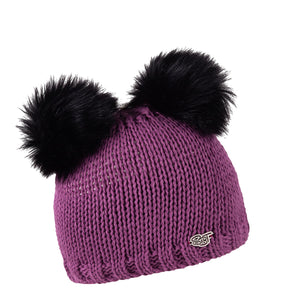 Purple Irena Girls Pompom Hat