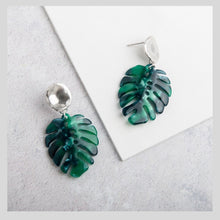 Load image into Gallery viewer, Tropical Green Resin Monstera Leaf Pendant Earrings with Silver Studs