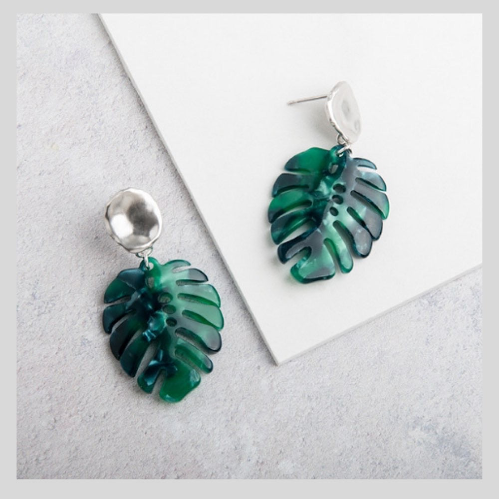 Tropical Green Resin Monstera Leaf Pendant Earrings with Silver Studs