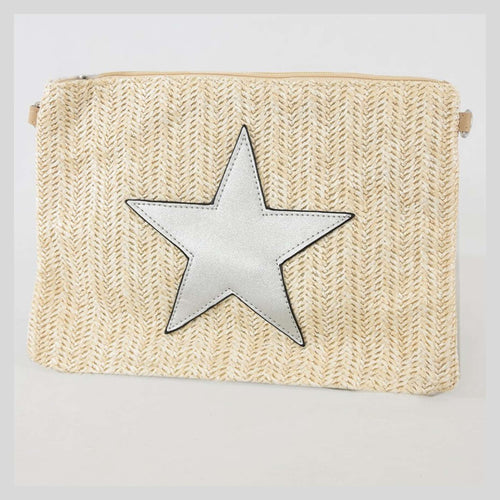 cream clutch bag with silver star