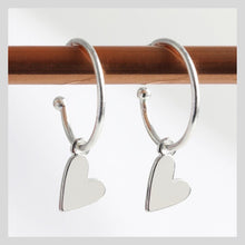 Load image into Gallery viewer, Silver Falling Heart Charm Hoop Earrings