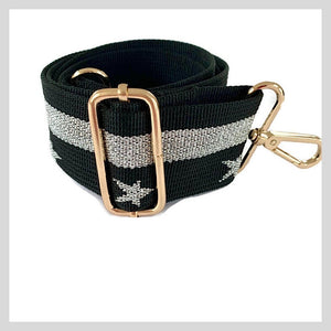 silver and black starstruck bag strap