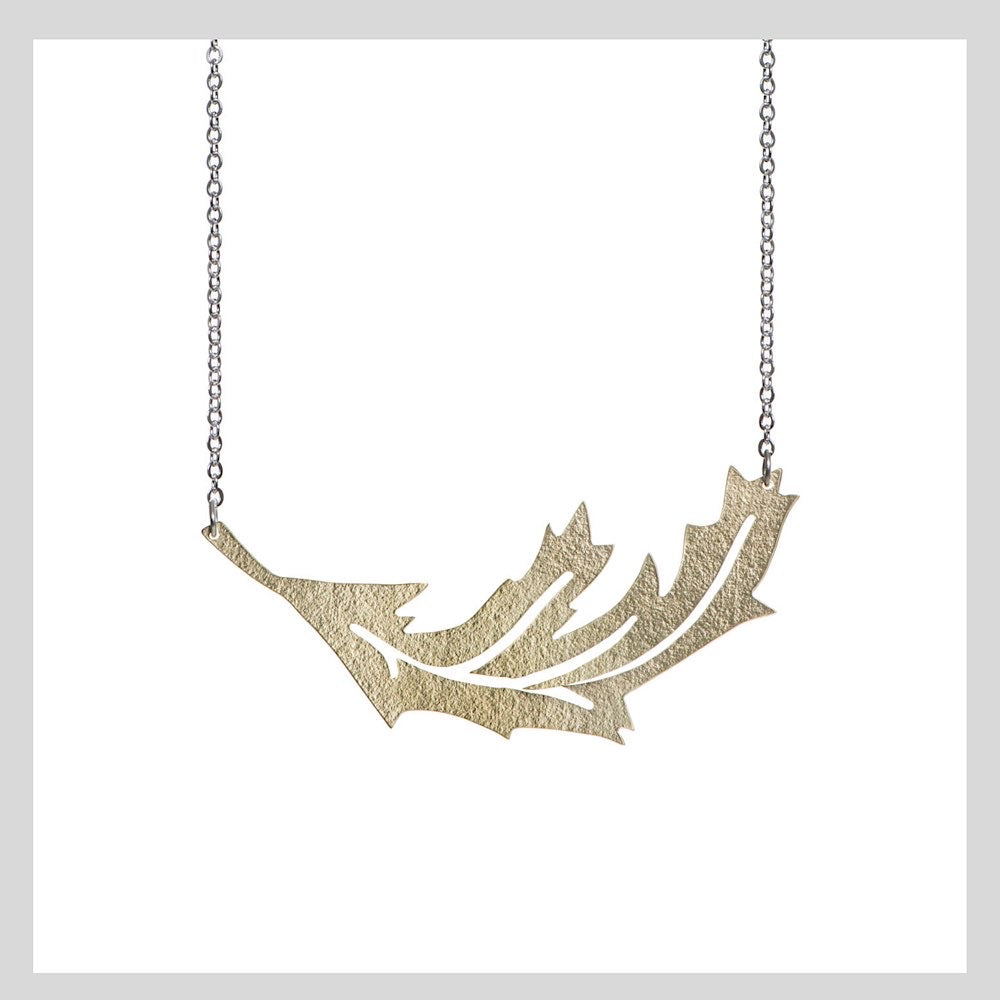 Brass Falling Leaf Statement Necklace