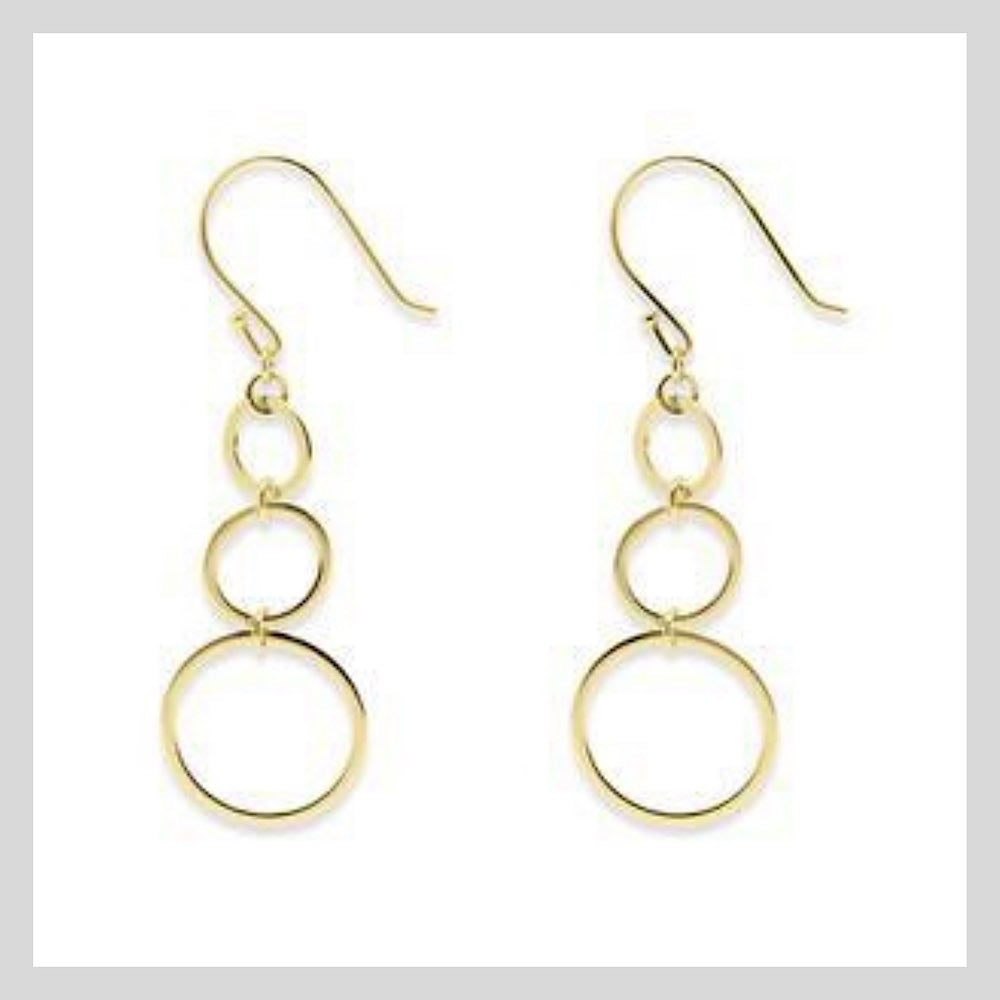 Gold 3 Circle Hoop Earrings