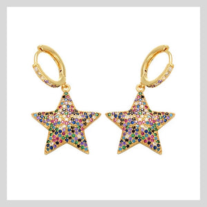Gold Mega Star Sparkle Hoops