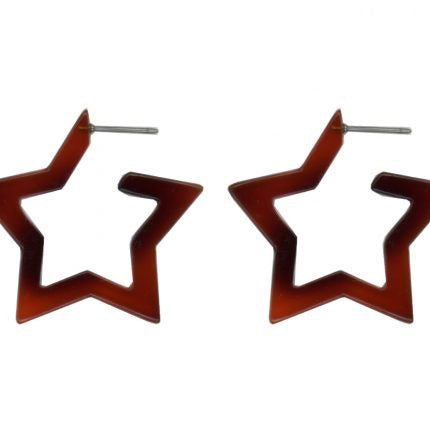 Megan Star Tortoiseshell Resin Earrings