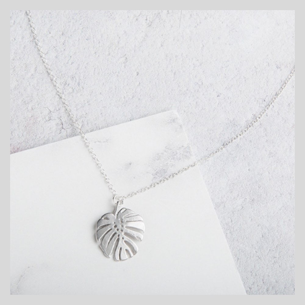 Monstera Leaf Sterling Silver Charm Necklace
